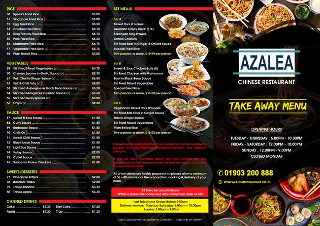 AZALEA Take Away Menu - Tri-Folded - Front